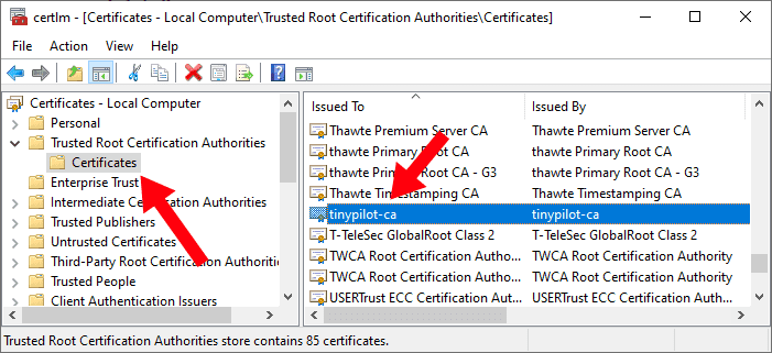 Screenshot of certificate manager showing Trusted Root Certification Authorities > Certificates in the left panel and tinypilot-ca selected in the right panel